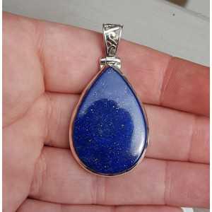 Zilveren edelsteen hanger druppelvormige cabochon Lapis Lazuli