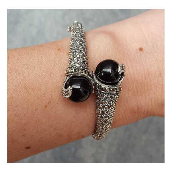 Silber Armband-set mit schwarzen Onyxen und Markasiet