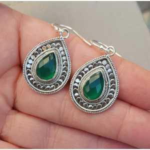 Silber-Ohrringe mit tropfenförmigen facettierten grünen Onyx Kleine
