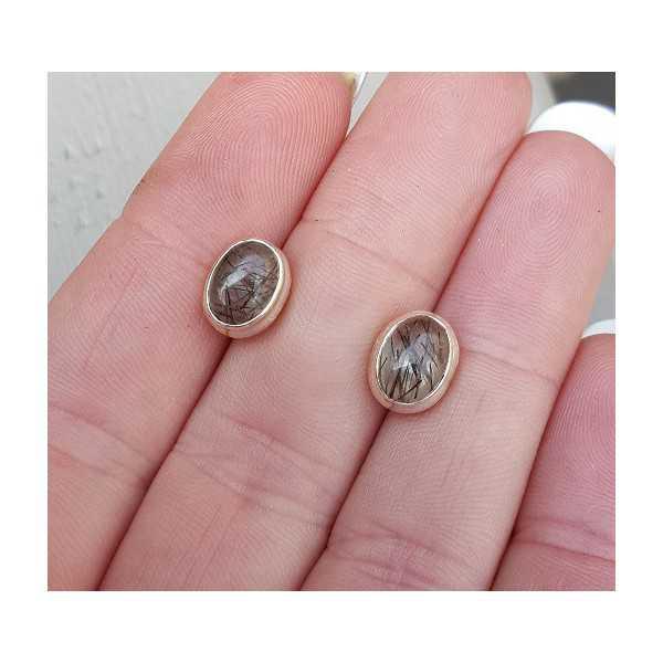 Zilveren oorknoppen gezet met Toermalijnkwarts