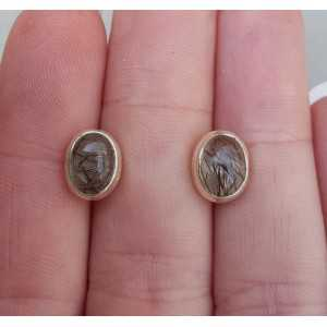Silver oorknoppen set with Toermalijnkwarts