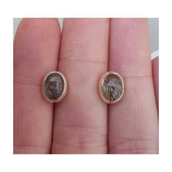 Silber oorknoppen set mit Toermalijnkwarts