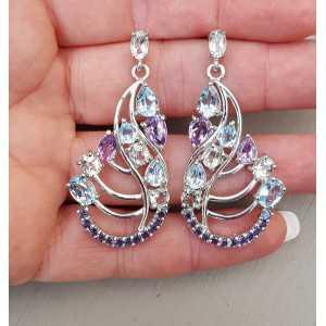 Zilveren oorbellen met Ioliet, blauw Topaas en Amethist