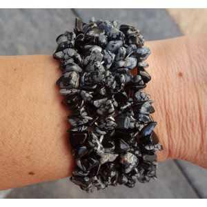 Wide splitarmband with snowflake Obsidian