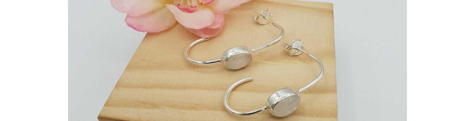 Zilveren Edelsteen Oorbellen