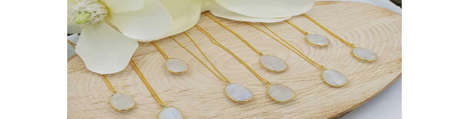 Gold überzogene Edelstein-Halsketten
