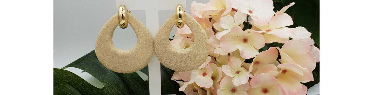 Gold Plated Stingray Leather  Earrings