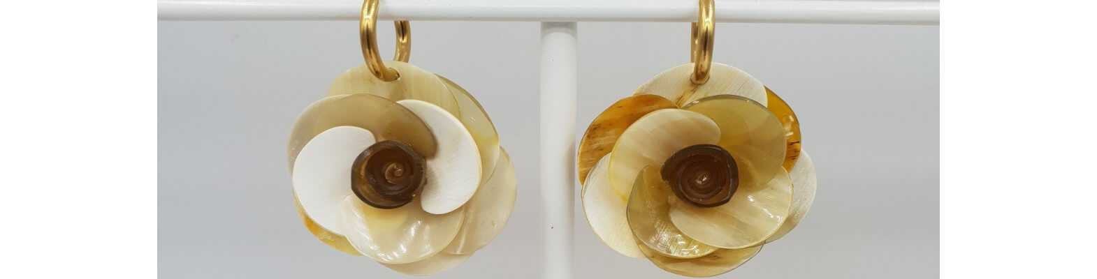 Gold plated earrings with Buffalo horn